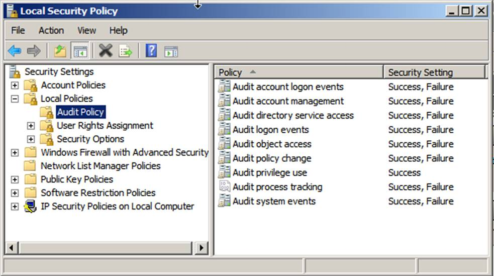 security audit policy Hello, i am trying to configure a standalone windows 7 64 bit workstation to meet security policies required by our organization i am getting stuck trying to enable the settings in the audit policy section of the local security policy.